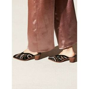 New Free People Anya Velvet Embroidered Mules